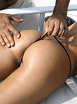 Brazillian bad ass girl gets creamed by these 2 beach guys